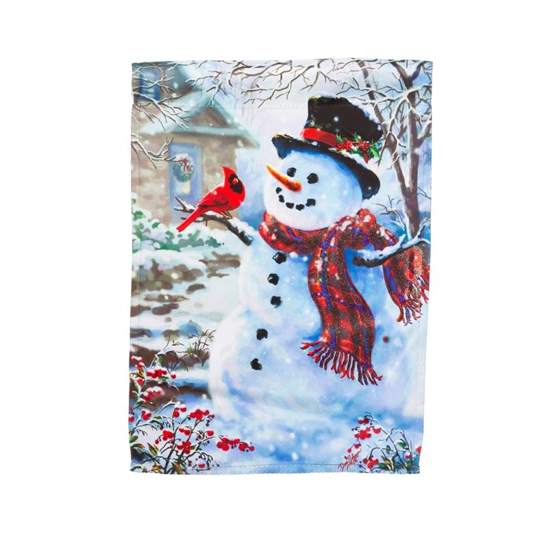 Winter Garden Flags Part - 20: Garden Flag - Snowman And Feathered Friend