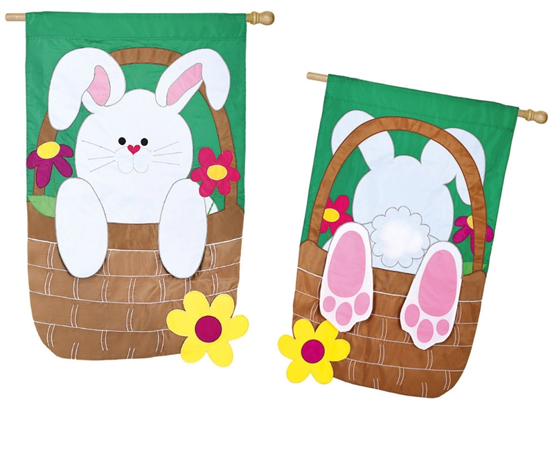 Easter House Flag - Bunny Basket Coming And Going