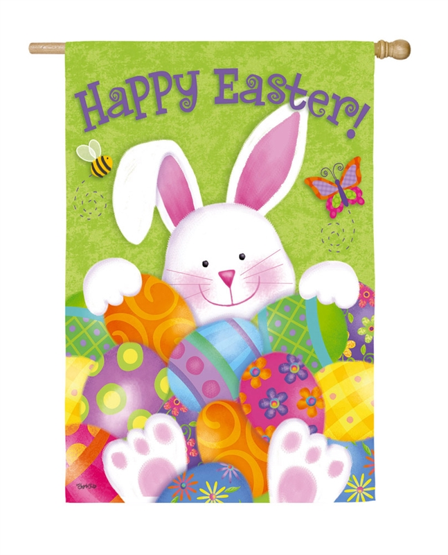 Easter House Flag - Bunny With Eggs