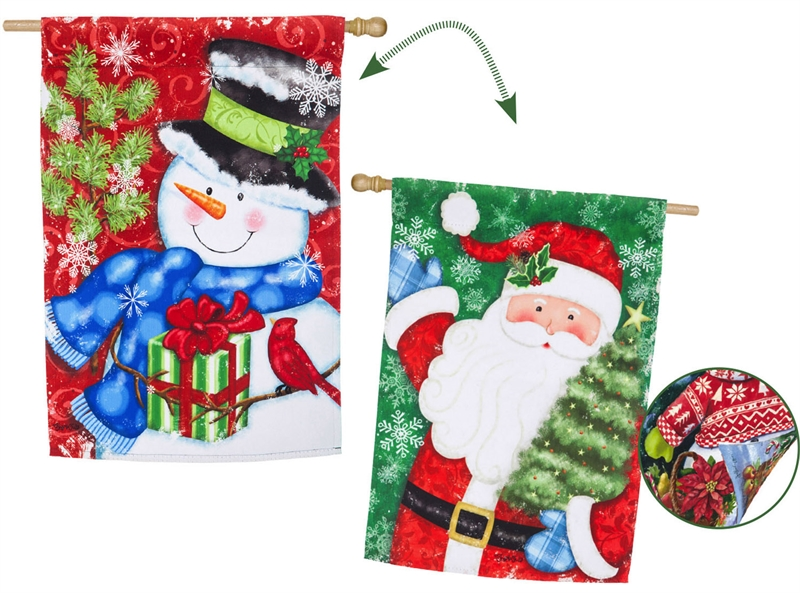 House Flag - Starry Night Santa And Snowman