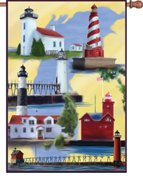 Michigan Lighthouses House Flag