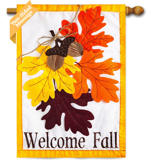 Autumn Leaves Applique House Flag
