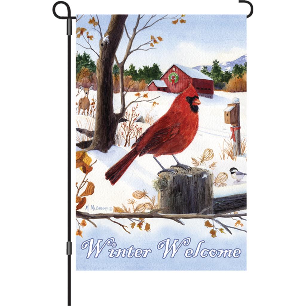 Beautiful Garden Flag   Cardinal Morning