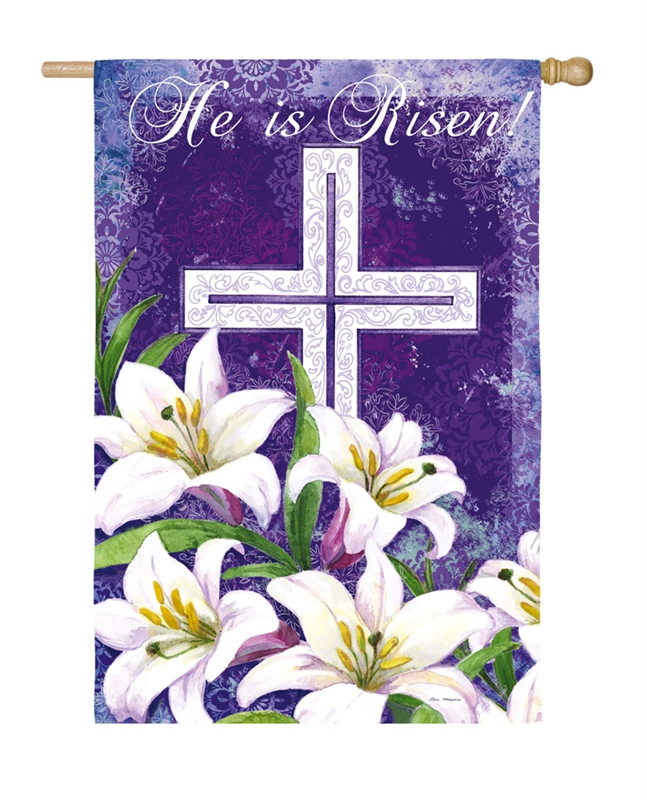 Easter House Flag - Easter Cross And Lilies
