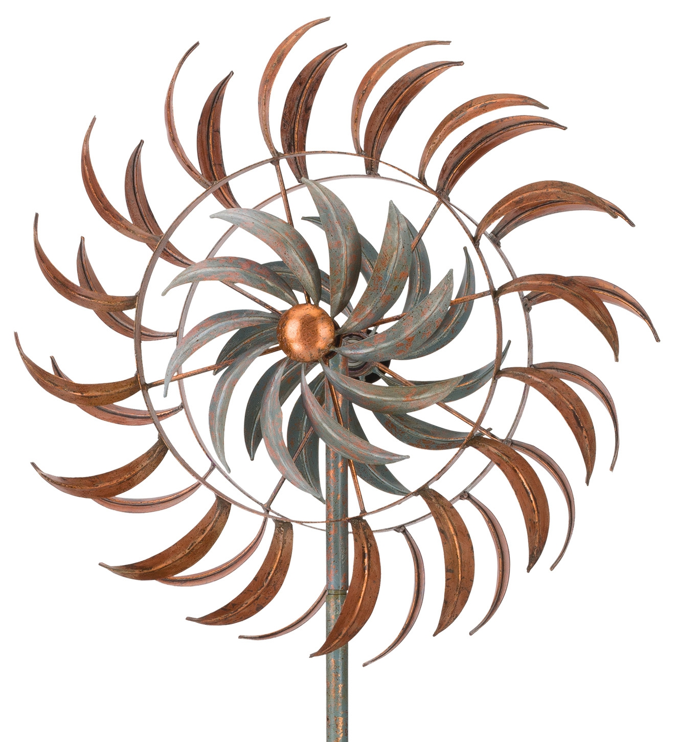 "24"" Rotating Kinetic Stake - Copper Petals"