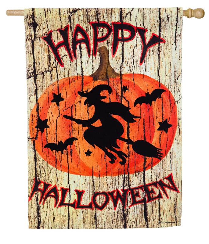 Halloween House Flag - Witch on Broom