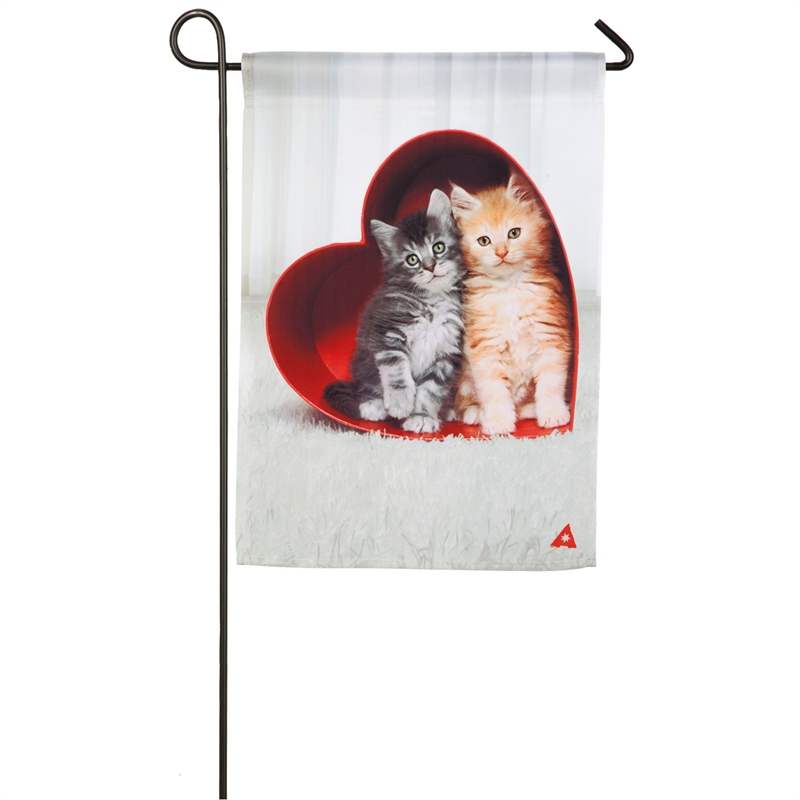 Valentine's Garden Flag - Kittens In Heart