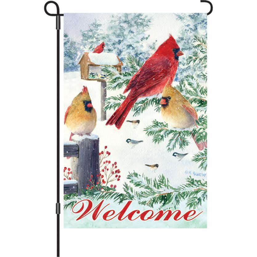 Garden Flag   Snow Flurry Cardinals