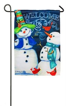Garden Flag   Snowman Welcome