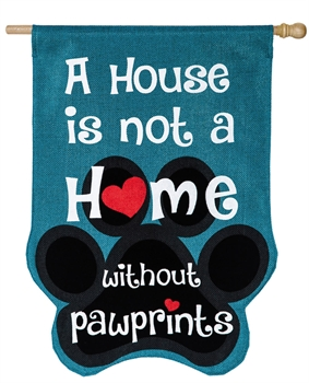 Paw Prints House Burlap Flag