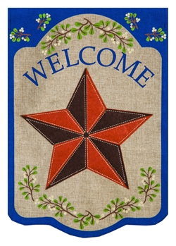 Country Star House Burlap Flag