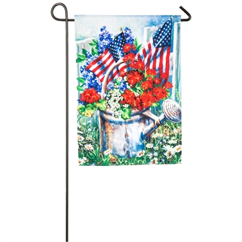 Patriotic Watering Can Garden Satin Flag