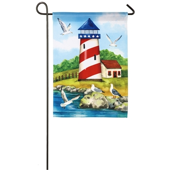 Patriotic Lighthouse Garden Satin Flag