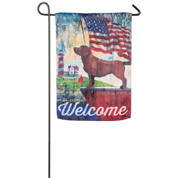 Patriotic Dog Garden Suede Flag