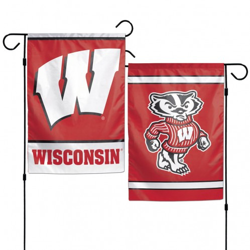 Wisconsin Badgers Garden Flag - 2 Sided Red