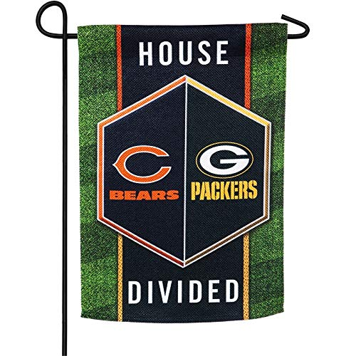 Packers and Bears House Divided Garden Flag