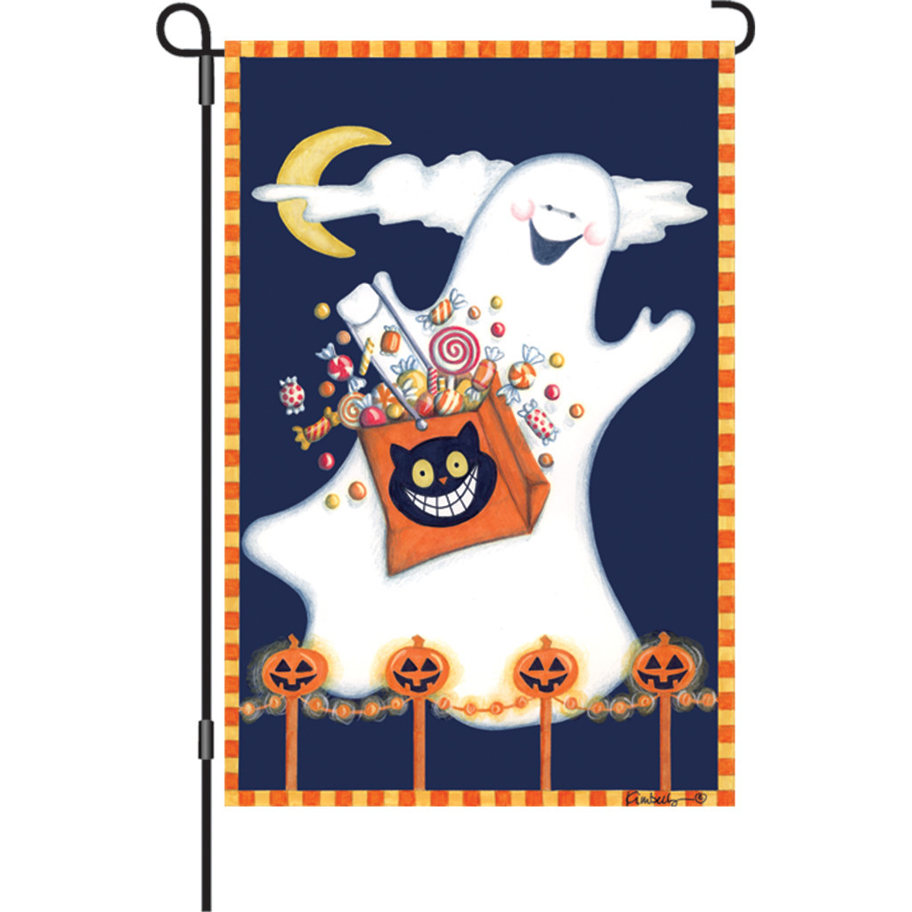 Halloween - Candy Ghost Garden Flag