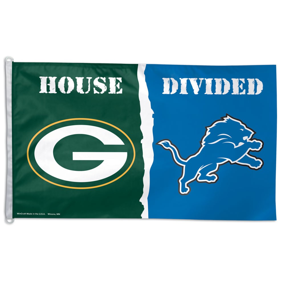 Packers/Lions 3' X 5' House Divided Flag