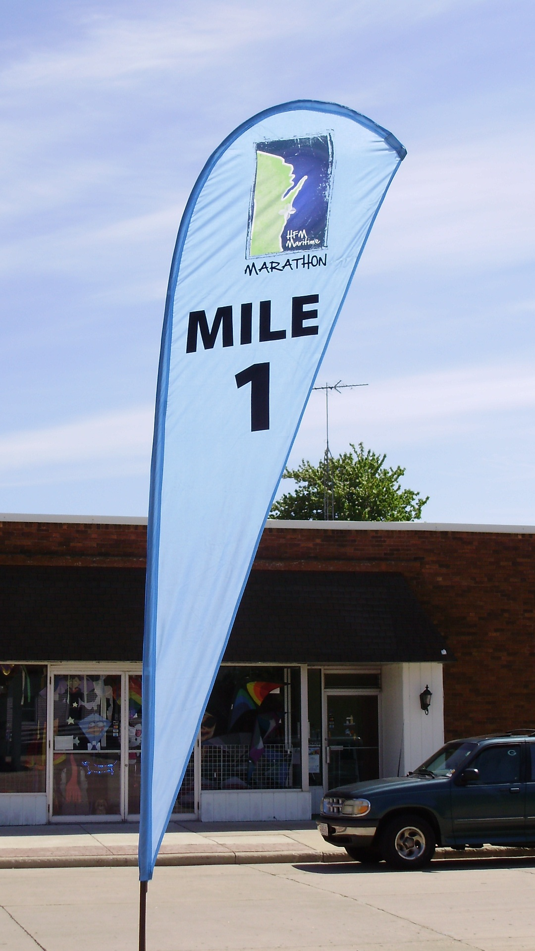 10ft. HFM MILE 1-25 Custom Teardrop Banner