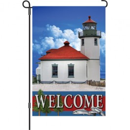 Pacific Northwest Lighthouse Garden Flag