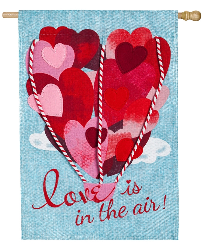 Valentine's House Flag - Love Is In The Air (Burlap)