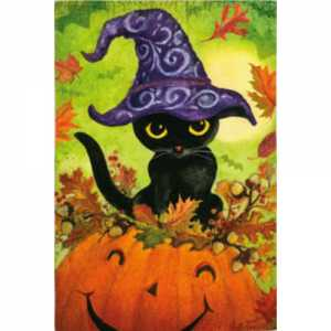 Halloween - Pumpkin Kitty Glitter House Flag