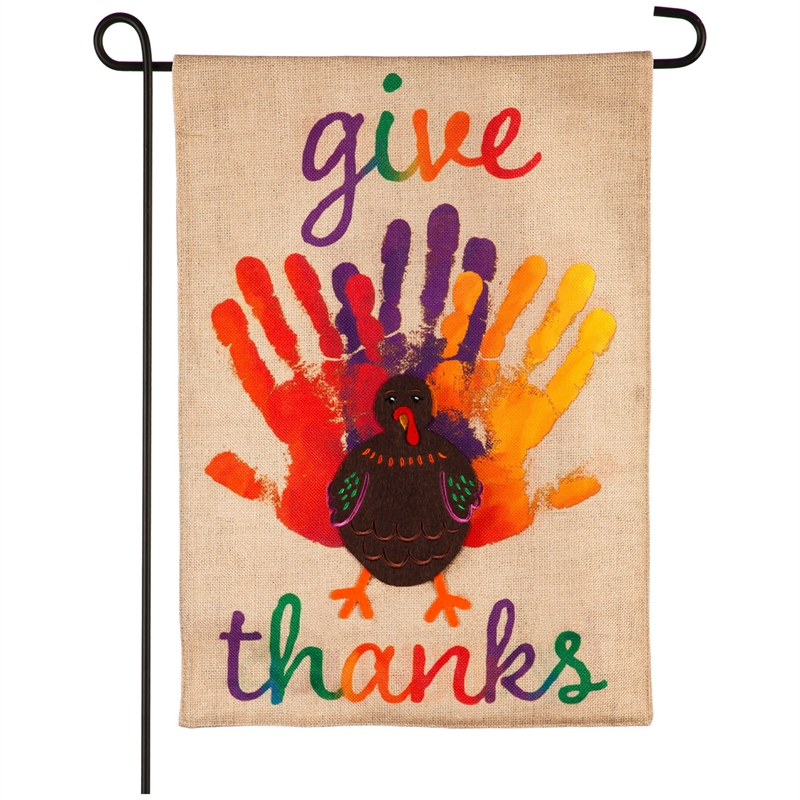 Handprint Turkey Burlap Flag
