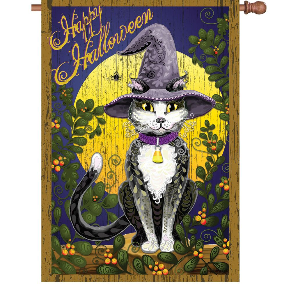 Halloween - Candy Corn Cat House Flag