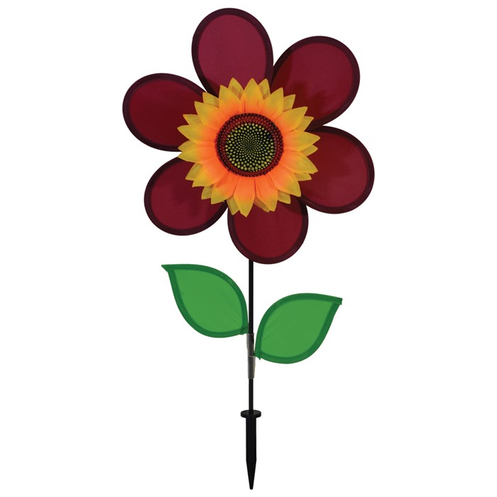"12"" Sunflower With Leaves - Burgundy"
