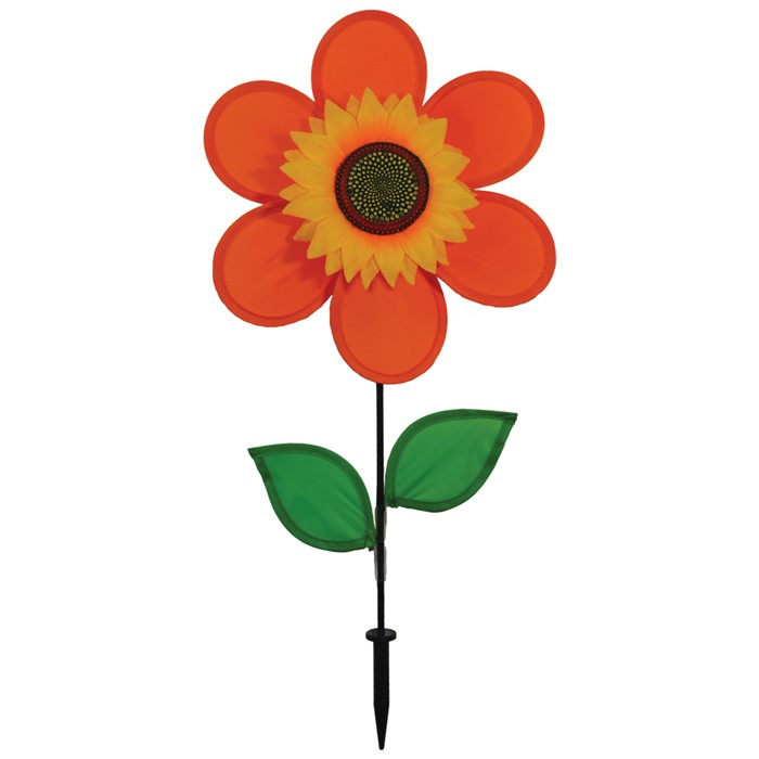 "12"" Sunflower With Leaves - Orange"