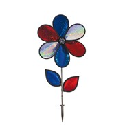 "12"" Red, White & Blue Sparkle Flower with Leaves"