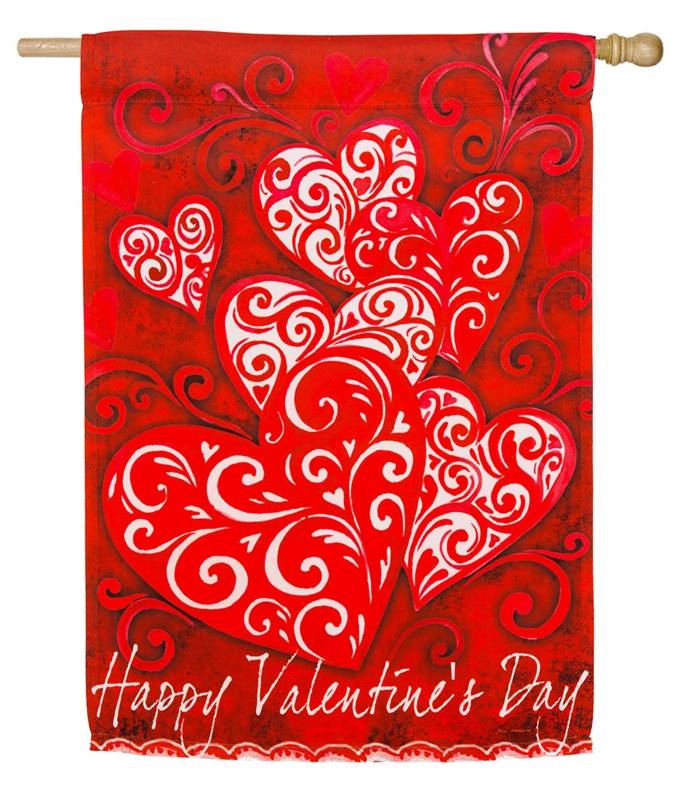 Valentine's House Flag - Valentine Scroll
