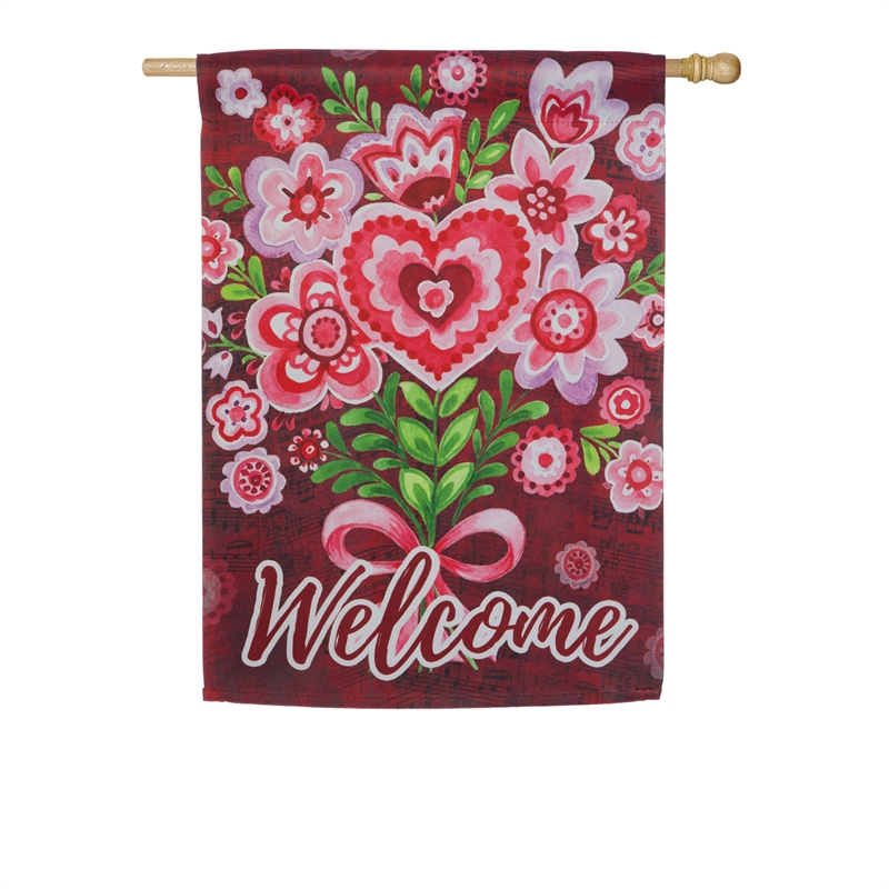 Valentine's House Flag - Valentine Bouquet
