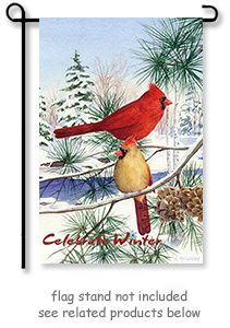 Garden Flag - Cedar farm Cardinals